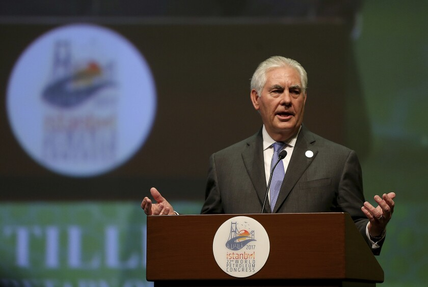 U.S. Secretary of State Rex Tillerson gestures as he delivers a speech at the World Petroleum Congress, hosted by Istanbul, Turkey, on July 9, 2017.