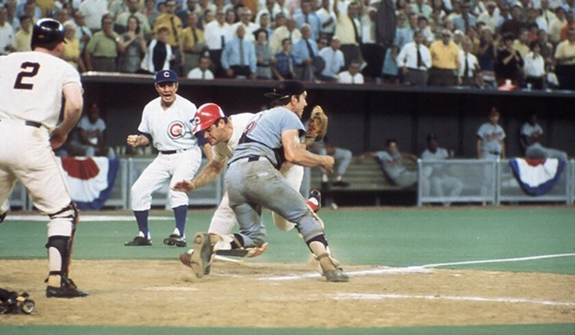 Cincinnati's Pete Rose collides with Cleveland catcher Ray Fosse on the way to scoring the winning run in the 1970 All-Star Game at Riverfront Stadium.
