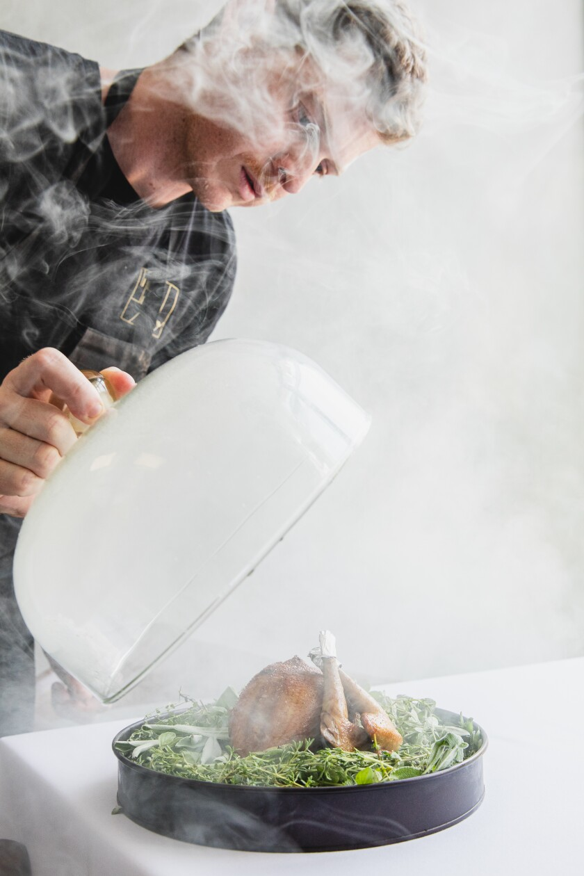 Arama chef Luca Abbruzzino releases the wonders of the herb-smoked pigeon.