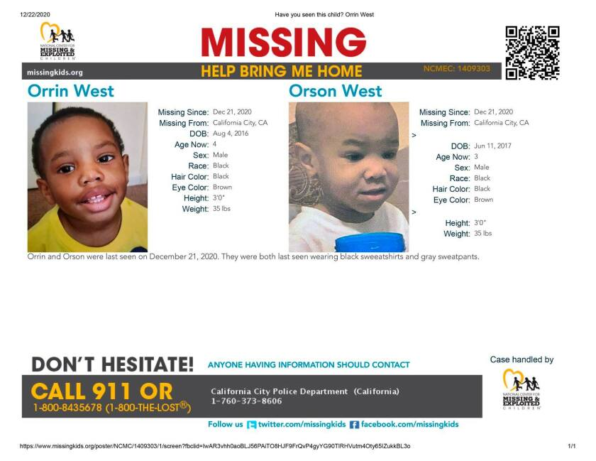 An online missing children sign for Orrin, 4, and Orson West, 3