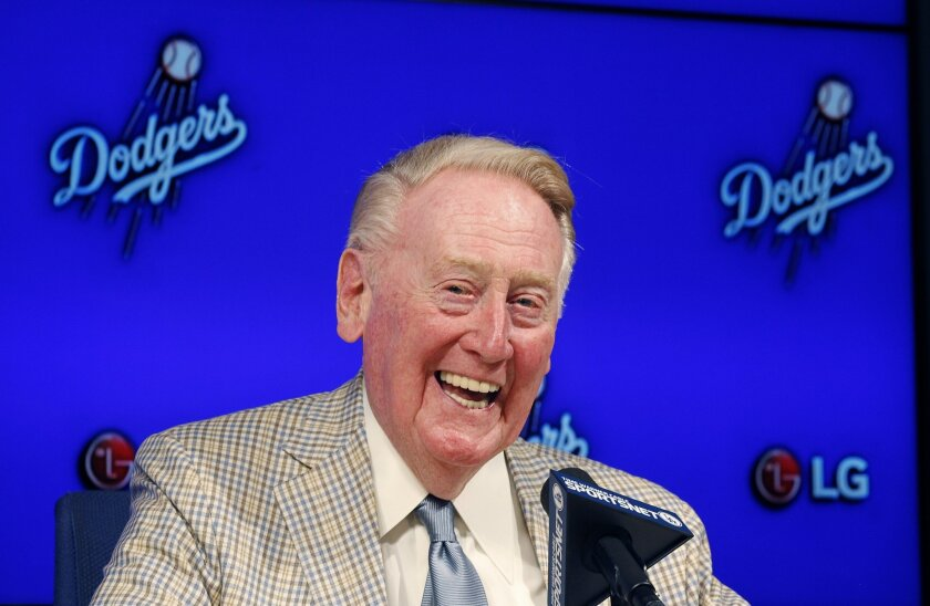 Vin Scully speaks at a news conference on Aug. 29.