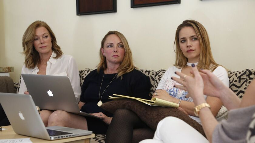 STUDIO CITY, CA-March 6, 2018: (L-R) Caitlin Dulany, Louisette Geiss, and Jessica Barth, discuss the