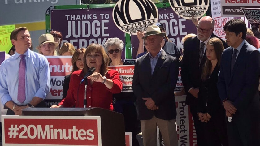 U.S. Senate candidate Loretta Sanchez calls for the removal of Santa Clara County Judge Aaron Persky from the bench.