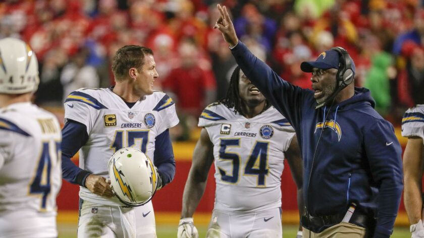 Chargers head coach Anthony Lynn calls for a two-point conversion after quarterback Philip Rivers led the team on a last minute scoring drive against the Chiefs Arrowhead Stadium.