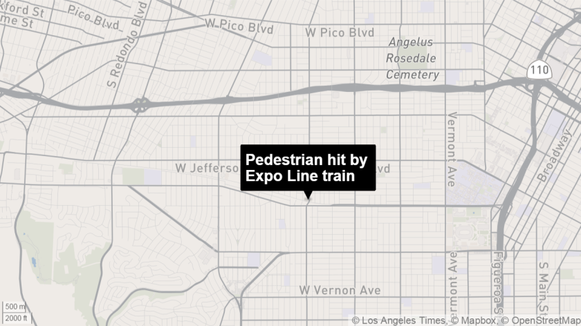 A pedestrian was hit by an Expo Line train at Arlington Avenue on Tuesday.
