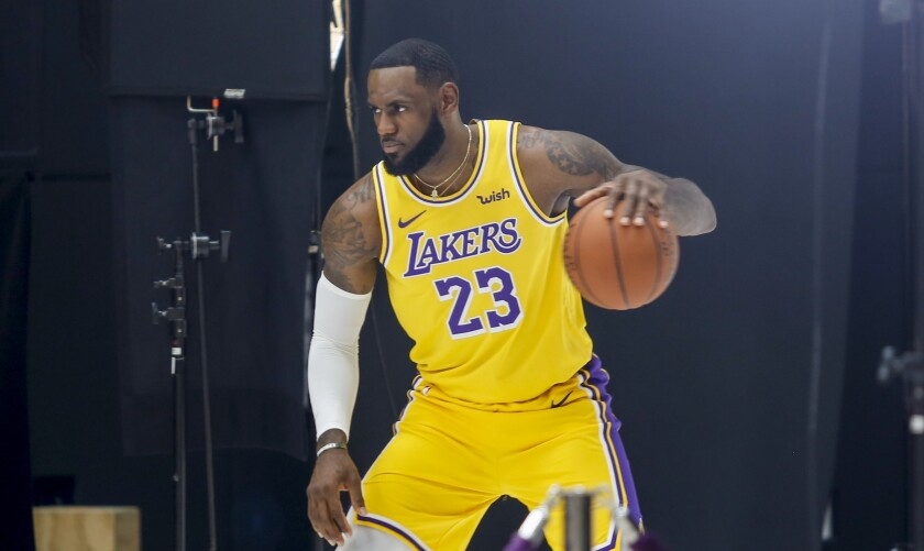 Lakers star LeBron James was busy during the team's media day on Friday.