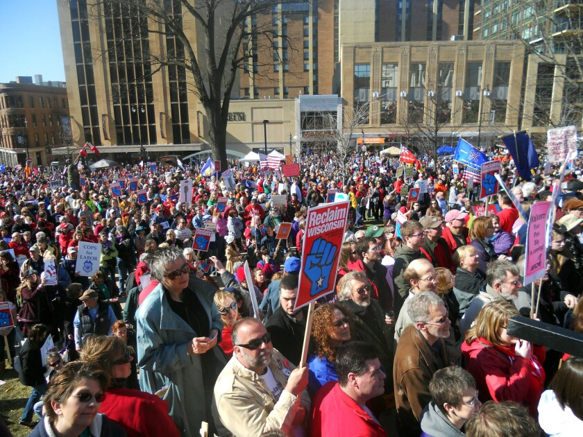 Wisconsin unions rallied in Madison in 2012 to protest Gov. Scott Walker's campaign against collective bargaining.