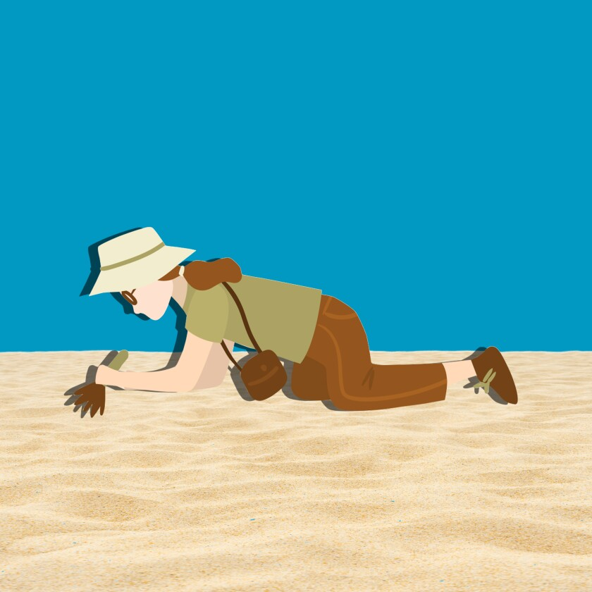 Illustration of a woman on her knees brushing away sand.