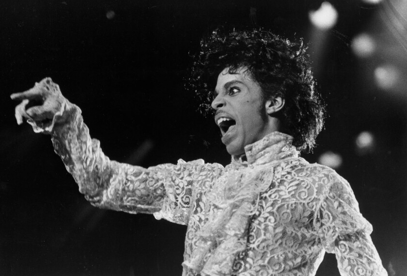 Prince in concert at the Forum in Inglewood on Feb. 18, 1985.