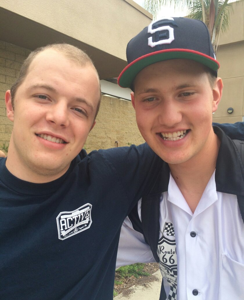 Brothers Jack, left, and Owen Godfrey, photographed in Poway in July 2014. Jack Godfrey passed away on Nov. 6.