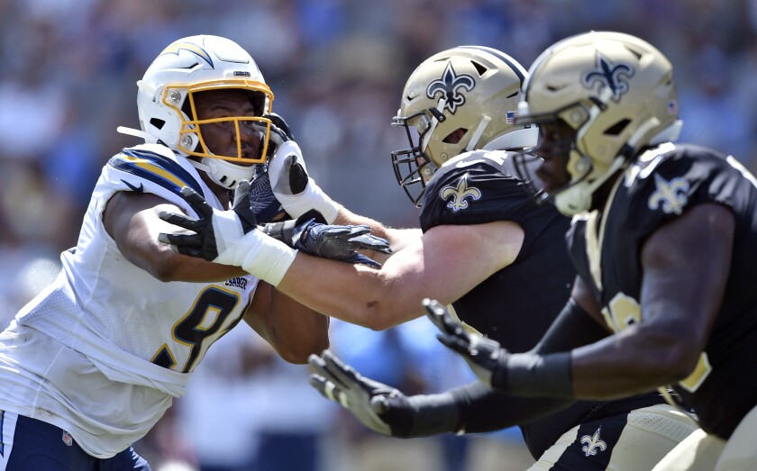 Chargers defensive tackle Jerry Tillery saw his first action of the preseason against the Saints on Sunday.