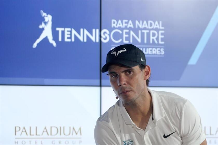 El tenista español Rafael Nadal durante una conferencia de prensa previa a la inauguración de su primer centro deportivo fuera de España, el Rafa Nadal Tennis Centre, emplazado en un complejo hotelero en la parte continental de Isla Mujeres, al norte del balneario mexicano de Cancún, en el estado de Quintana Roo (México). EFE
