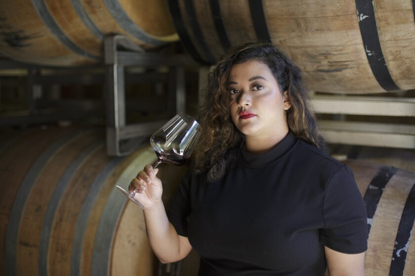 Jirka Jireh, who works at a natural wine shop in Oakland, Calif., poses for a portrait at Hiyu Wine Farm, in Hood River, Ore.