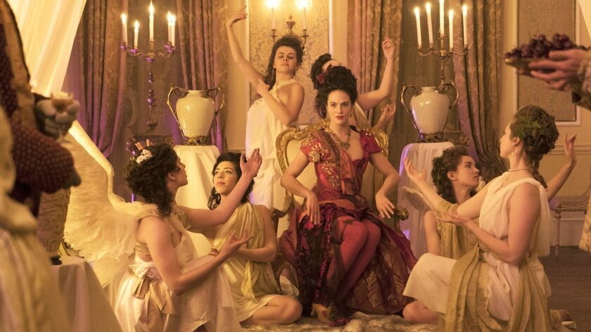 """The period drama """"Harlots"""" returns for a second season on Hulu. With Jessica Brown Findlay, center."""