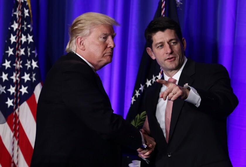 President Trump and House Speaker Paul D. Ryan (R-Wis.)