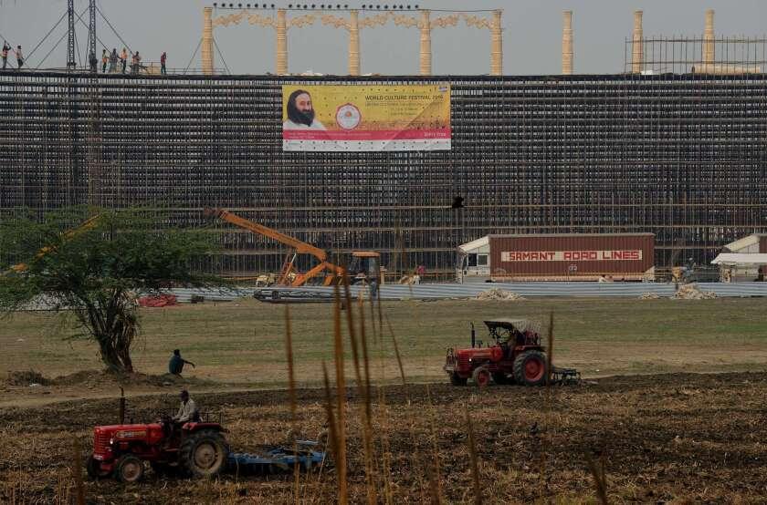 Construction along Yamuna River in India
