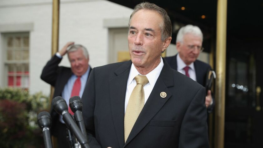 Rep. Chris Collins (R-N.Y.) talks to reporters at the National Republican Club of Capitol Hill on April 21, 2016.