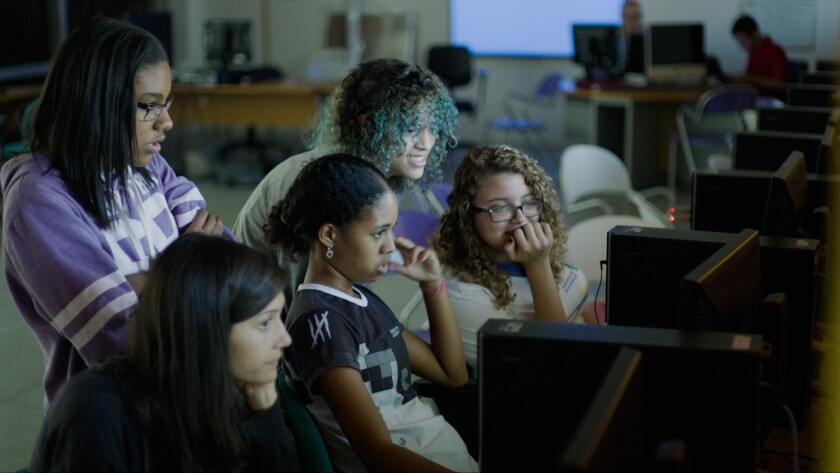 """The Team Portmund from Brazil works on its app, the Last Drop, in the documentary film """"CodeGirl,"""" which follows an app development competition with teams of high school students from around the world."""