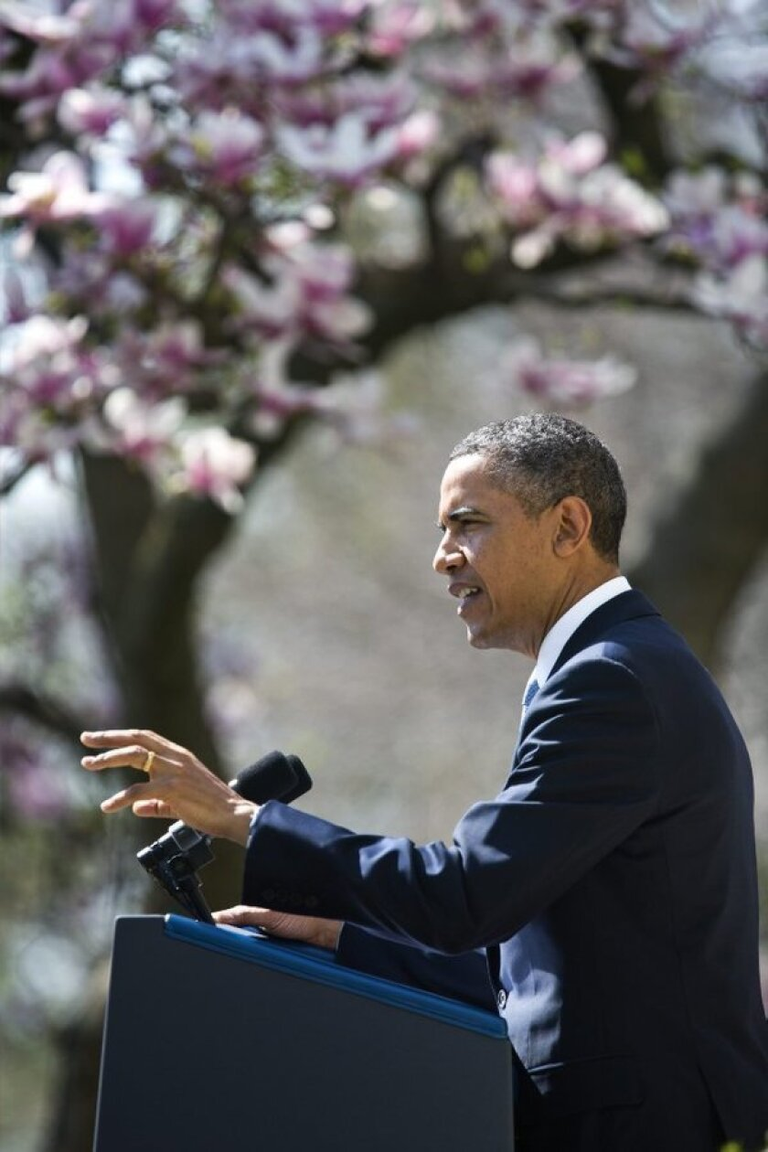 President Obama details his budget proposal in the White House Rose Garden in Washington, D.C.