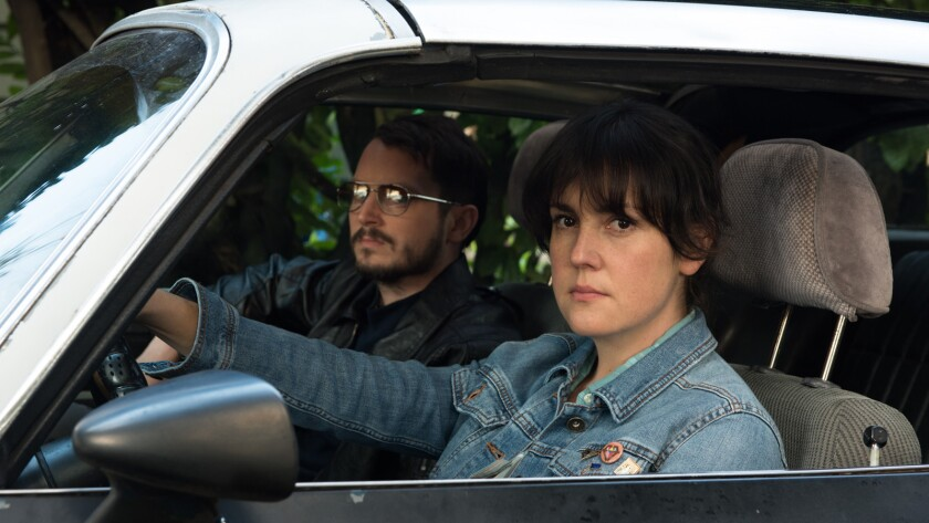 "Elijah Wood and Melanie Lynskey in ""I Don't Feel At Home In This World Anymore."""