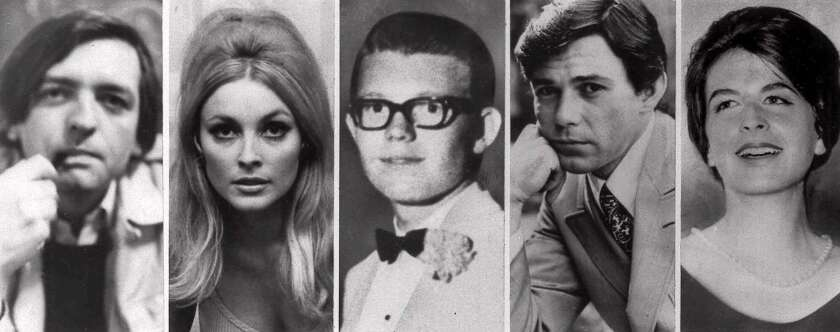 FILE--Combo image shows the five victims slain the night of Aug. 9, 1969 at the Benedict Canyon Estate of Roman Polanski. From left, Voityck Frykowski, Sharon Tate, Stephen Parent, Jay Sebring, and Abigail Folger.