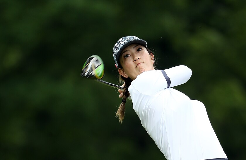 Michelle Wie hits a shot at the KPMG Women's PGA Championship in June 2019.