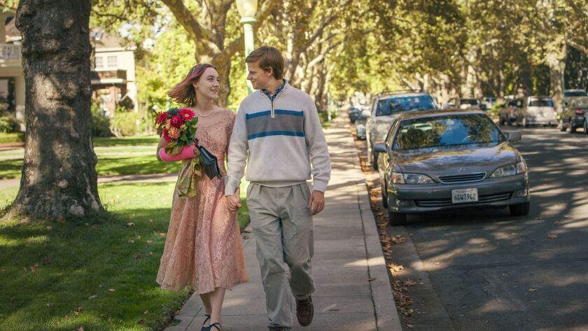 "Saoirse Ronan, left, and Lucas Hedges in a scene from ""Lady Bird."" The movie has deeply resonated in Sacramento, the city in which the story is set and much of the shooting took place."