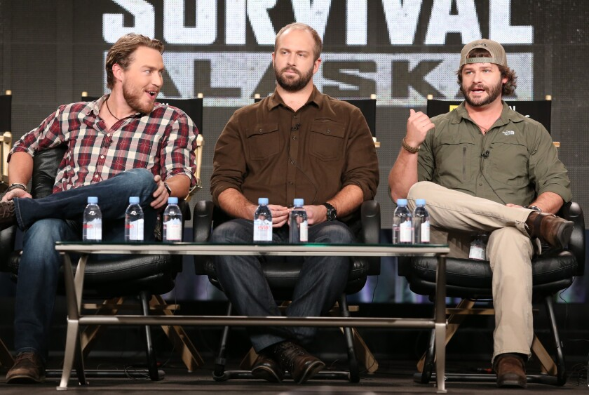 Grady Powell, Jared Ogden and Daniel Dean of National Geographic's 'Ultimate Survival Alaska' speak onstage during the 2015 Winter Television Critics Association press tour at the Langham Huntington Hotel & Spa in Pasadena.