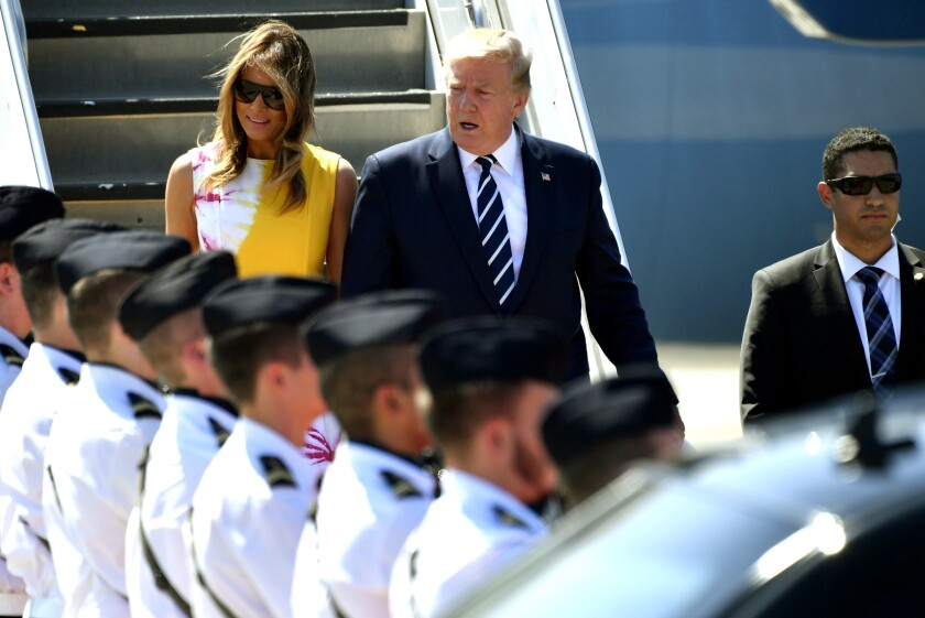 President Trump and First Lady Melania Trump arrive in Biarritz, France, for the G-7 summit on Aug. 24.