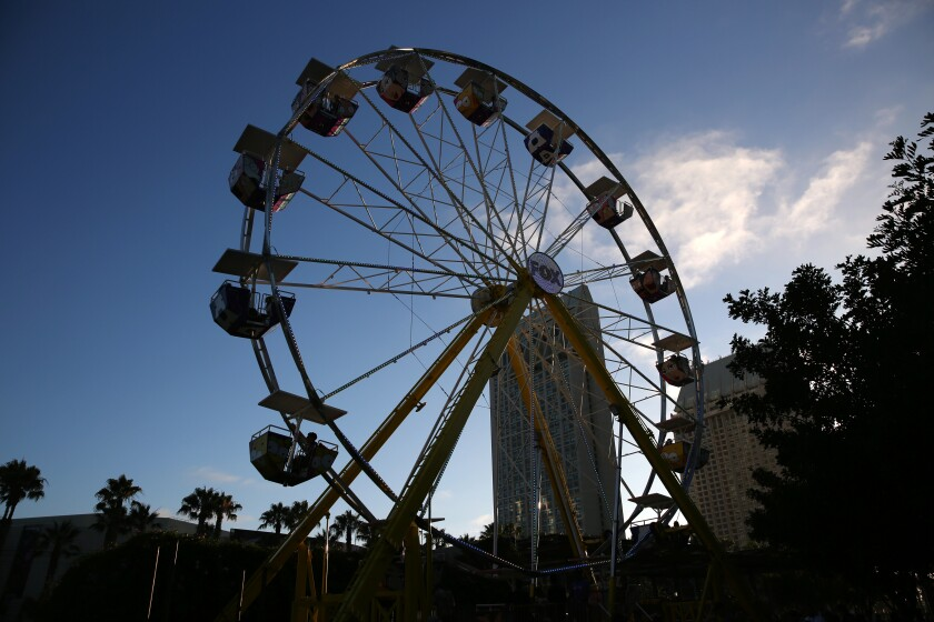 People rode a 70-foot-tall Ferris wheel in San Diego in 2019.