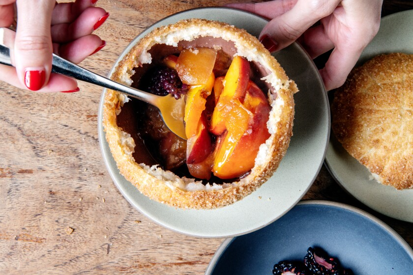 En croute dessert with peaches, berries and lemon verbena ice cream at République