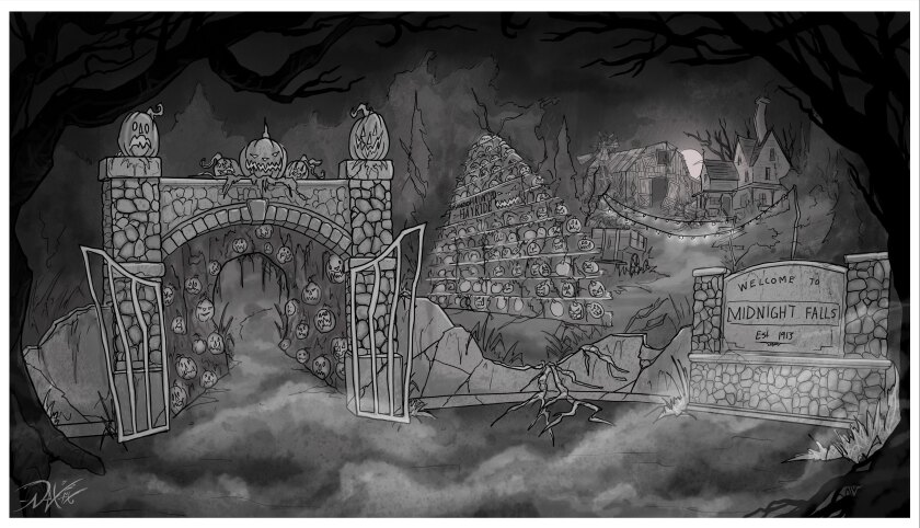 Concept art for the revamped version of the Los Angeles Haunted Hayride.