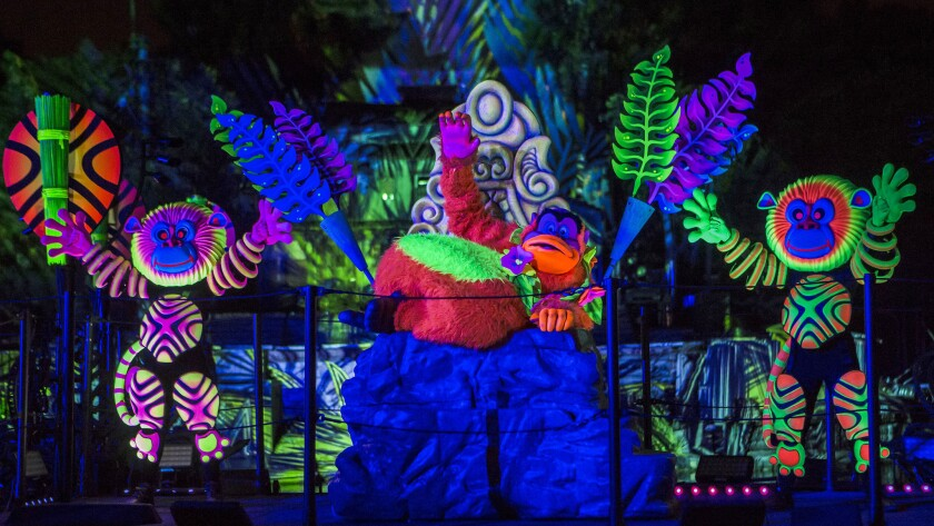 """Fantasmic"" returns to Disneyland with new characters and more neon colors."