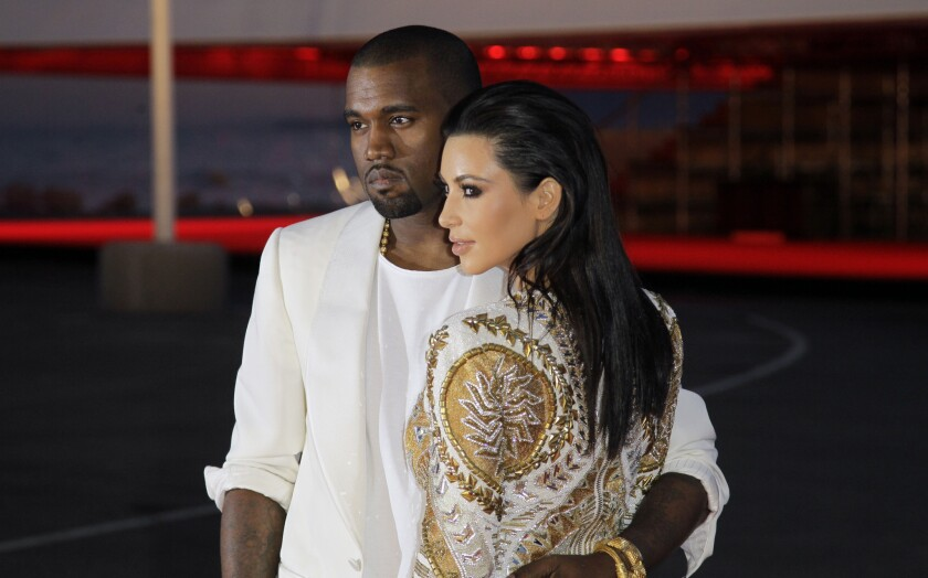 Kanye West and Kim Kardashian at the Cannes Film Festival in 2012.
