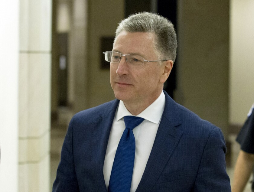 Kurt Volker, a former special envoy to Ukraine, leaves a closed-door interview with House investigators