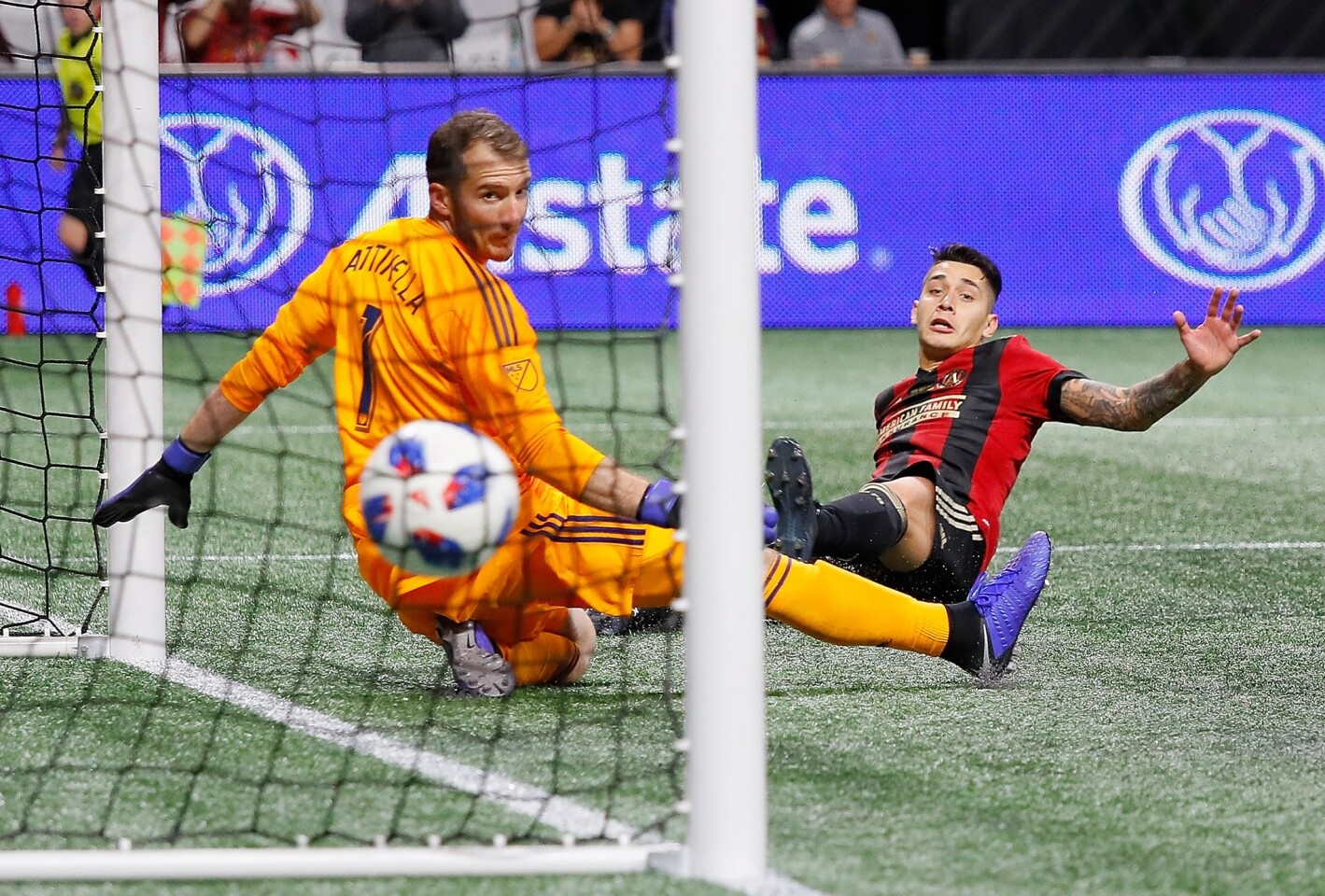 ATLANTA, GA - DECEMBER 08: Franco Escobar #2 of Atlanta United scores the second goal past goalkeeper Jeff Attinella #1 of Portland Timbers in the second half during the 2018 MLS Cup between Atlanta United and the Portland Timbers at Mercedes-Benz Stadium on December 8, 2018 in Atlanta, Georgia. (Photo by Kevin C. Cox/Getty Images) ** OUTS - ELSENT, FPG, CM - OUTS * NM, PH, VA if sourced by CT, LA or MoD **
