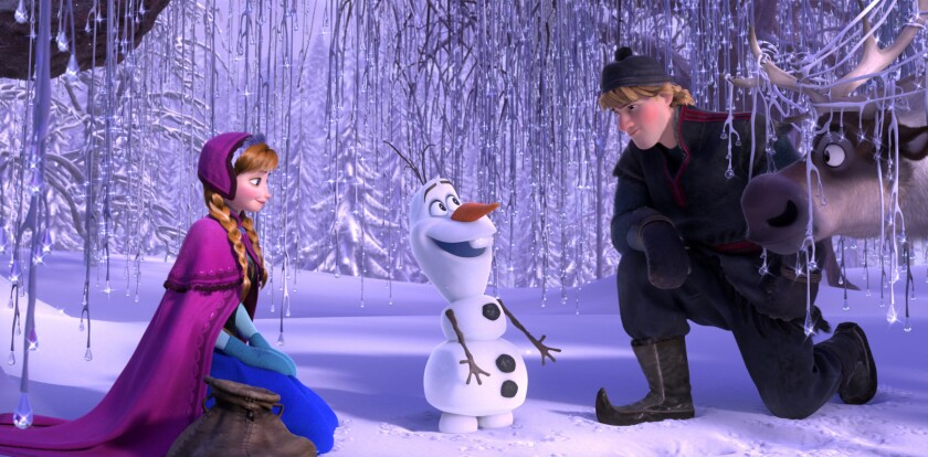 "Anna (voiced by Kristen Bell), Olaf (voiced by Josh Gad) and Kristoff (voiced by Jonathan Groff) in a scene from ""Frozen."""
