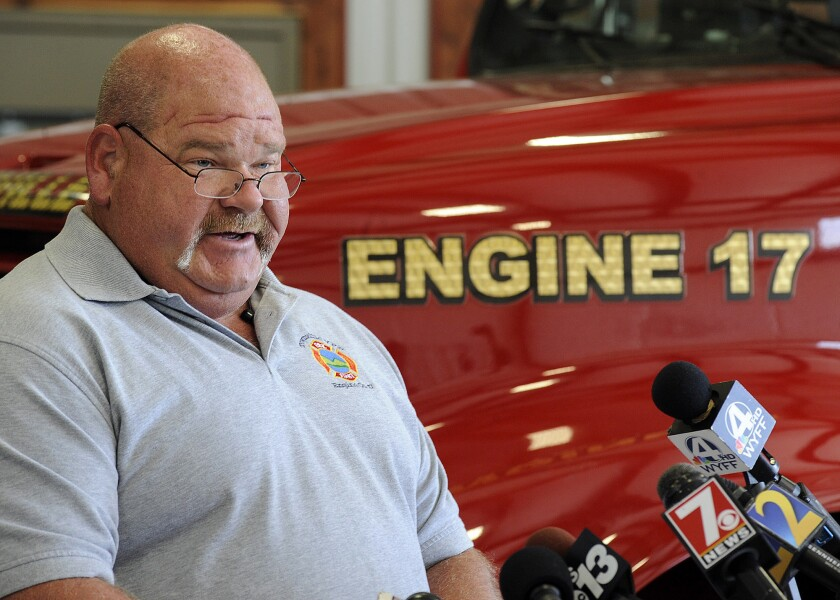 Fire Chief Billy McAdams speaks with reporters about a school shooting during a news conference in Townville, S.C., on Thursday, Sept. 29, 2016. McAdams was among the first two officials to arrive on the scene of the shooting, which injured two students and a teacher at a rural elementary school.