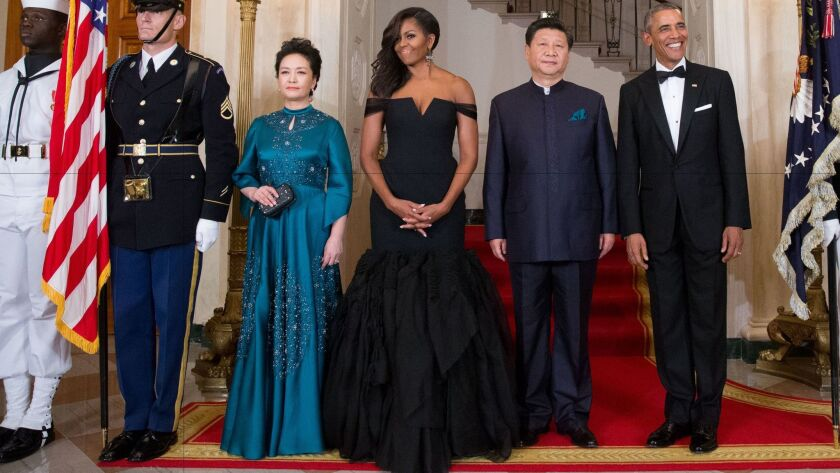 For a Sept. 25, 2015, state dinner honoring China, First Lady Michelle Obama chose a Vera Wang Collection gown.