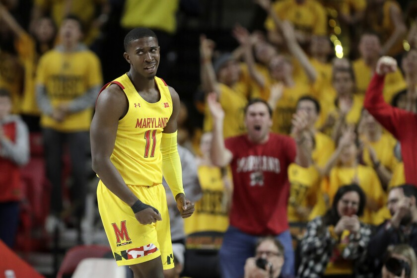 Maryland guard Darryl Morsell reacts during the second half of an NCAA college basketball game against Maryland, Saturday, Dec. 7, 2019, in College Park, Md. Maryland won 59-58. (AP Photo/Julio Cortez)