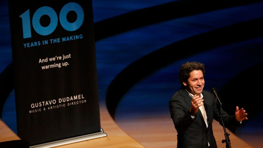 Gustavo Dudamel at Walt Disney Concert Hall in November giving preliminary plans for the Los Angeles Philharmonic Centennial season, which he has now fleshed out.