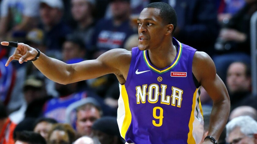 FILE - In this Feb. 12, 2018 file photo, New Orleans Pelicans guard Rajon Rondo (9) plays against th