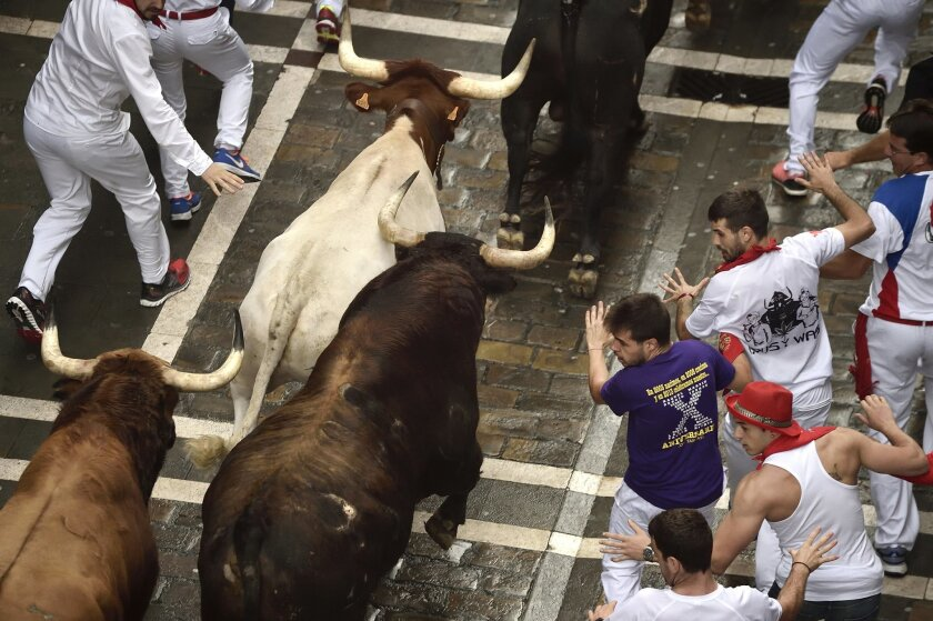 Revelers run beside Pedraza de Yeltes's fighting bulls as they go on the way of the Estafeta street during the fourth running of the bulls at the San Fermin Festival, in Pamplona, northern Spain, Sunday, July 10, 2016. Revelers from around the world arrive to Pamplona every year to take part in some of the eight days of the running of the bulls. (AP Photo/Alvaro Barrientos)