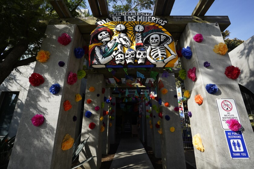 Entrance to the Sherman Heights Community Center is decorated with the Day of the Dead theme.