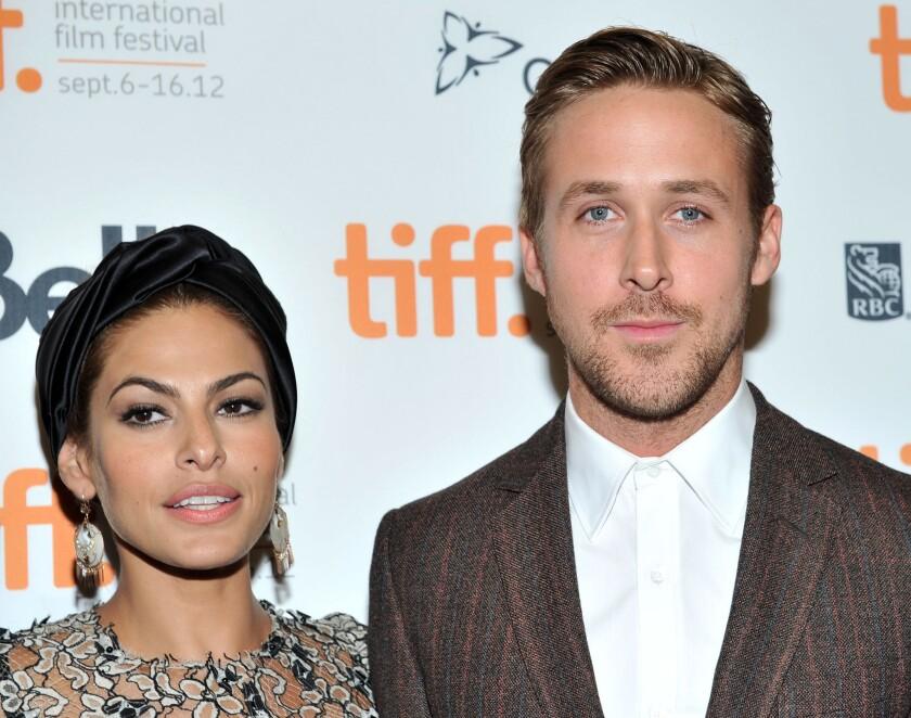 """Eva Mendes y Ryan Gosling durante la premiere de """"The Place Beyond the Pines"""", la película que los llevó a conocerse y enamorarse."""