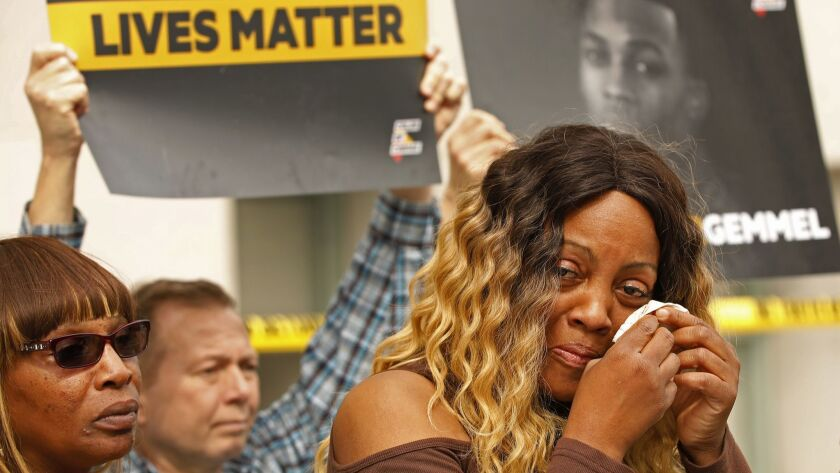 LOS ANGELES, CA - FEBRUARY 26, 2019 LaTisha Nixon (cq) the mother of Gemmel Moore -- the 26-year-old