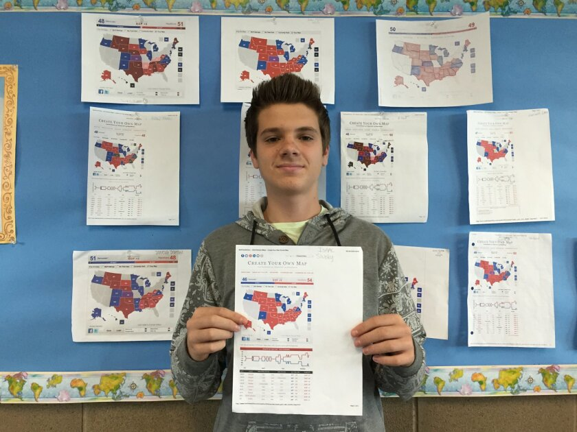San Diego Jewish Academy's Isaac Sluzky, a junior, with his map correctly predicting the outcomes of the Senate races. He's predicting a Democratic win for Louisiana in that state's Dec. 6 runoff.
