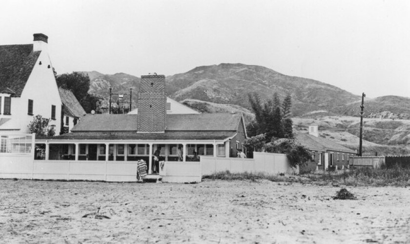 Bing Crosby's Malibu Colony home in 1931. The first to sign a lease was Swedish silent film star Anna Q. Nilsson.