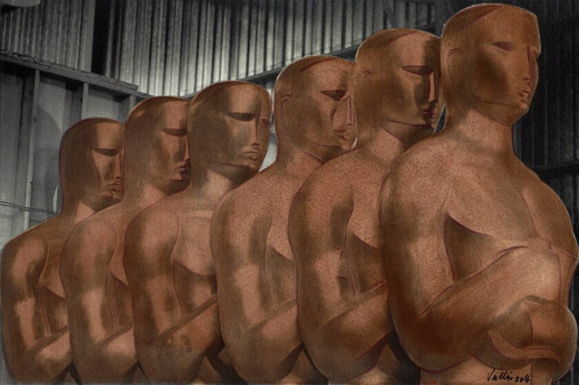 """Artist Linda Vallejo's series """"For Your Consideration: Make 'Em All Mexican"""" imagines an all-Mexican Academy Awards lineup including a row of brown Oscars statuettes."""