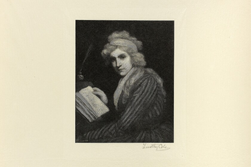 A black ink print on ivory paper shows Mary Wollstonecraft in a striped gown, paging through a book